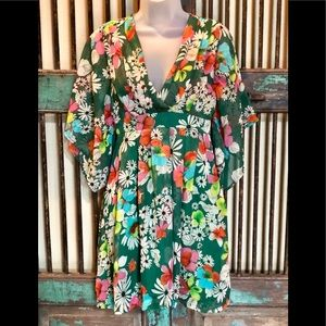 Cotton Candy Sz S green floral dress